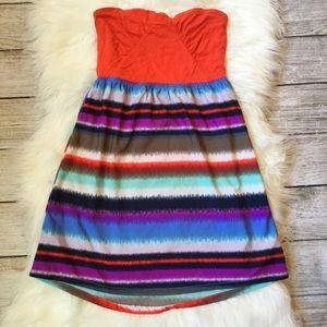 {Roxy} Striped Strapless Babydoll Dress